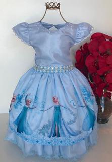 Vestido Infantil Frozzen Luxo