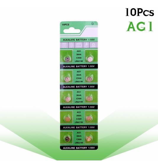 Pilha Bateria (10 Baterias) Ag1 1.55v 364a Cx60 Lr621w Sr621