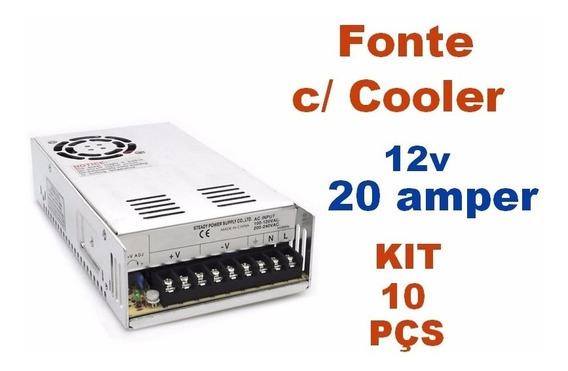 Kit C/ 10 Fonte Chaveada 12v 20 Amperes Com Cooler - Bivolt