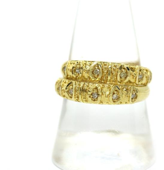 Par Anel Meia Aliança Aparadores Diamante Ouro 18k J22709