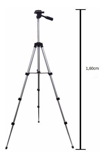 Tripe Universal Aluminio 1.60mt Camera Filmadora Telescopio
