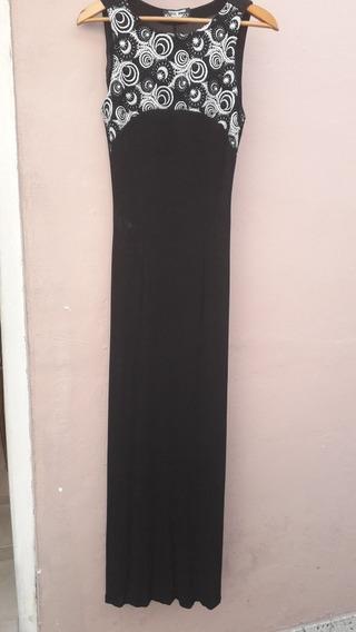 Vestido De Fiesta Negro Bordado. Usado Y Muy Buen Estado.