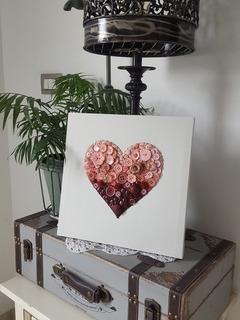 Cuadro Decorativo Corazón De Botones Reales 30x30 Cm.
