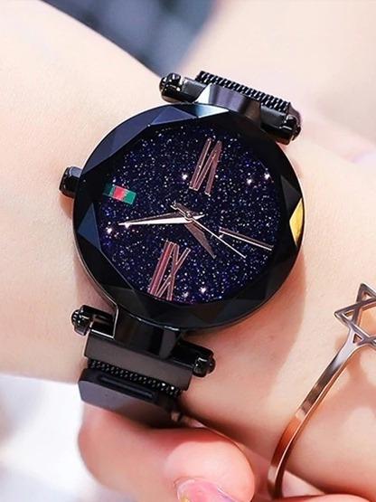 Relógio Pulso Feminino De Luxo Céu Estrelado,pulseira Magnética .promoção!!!