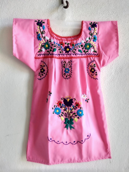 Vestido Niña Bordado Tradicional Oaxaca Talla 2 Rosa