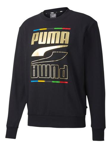 Buzo Puma Moda Hombre Rebel Crew 5 Continents Negro - Menpi