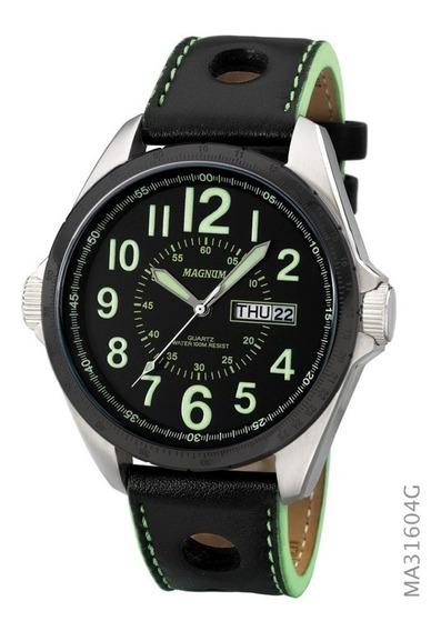 Relógio Magnum Pulseira Em Couro Ma31604g - Original