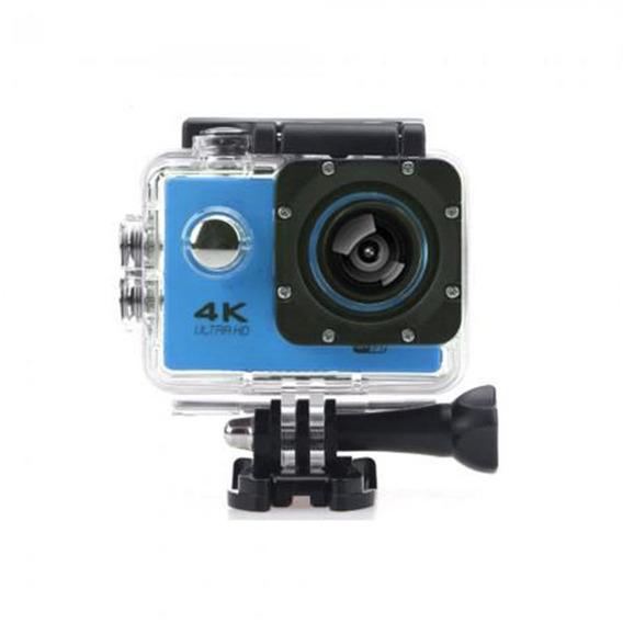 Camera Wifi 4k Azul Ultra Hd Filmadora 16mp Prova Dagua