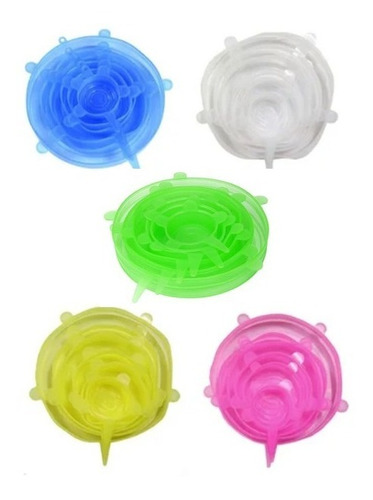 Tapas Silicona 24x1 Colores Sellado Alimento Fresco