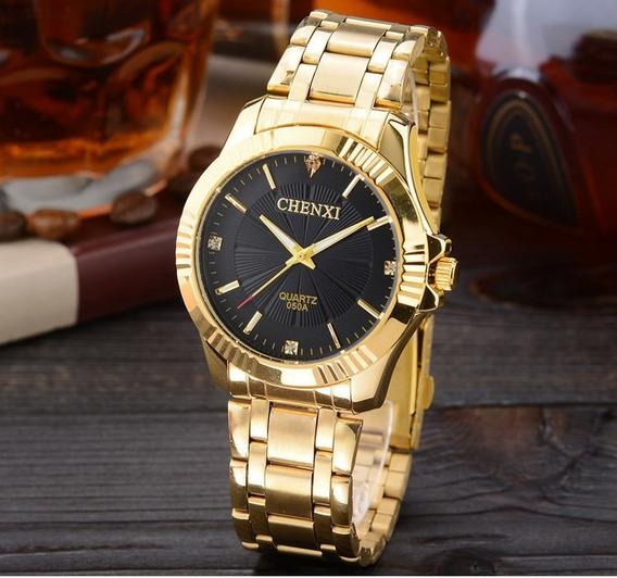 Relógio Masculino Chenxi Dourado Banhado A Ouro Original.
