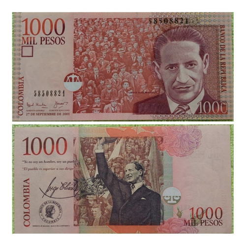 Imagen 1 de 1 de Billete 1000 Pesos Formato Grande. 2001.