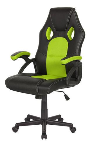 Imagen 1 de 1 de Silla de escritorio Desillas pro gamer momentum gamer ergonómica  negra y verde con tapizado de cuero sintético y mesh