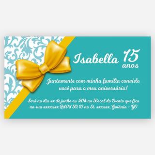 Convite Personalizado 15 Anos 10x15cm Verde 100 Unidades