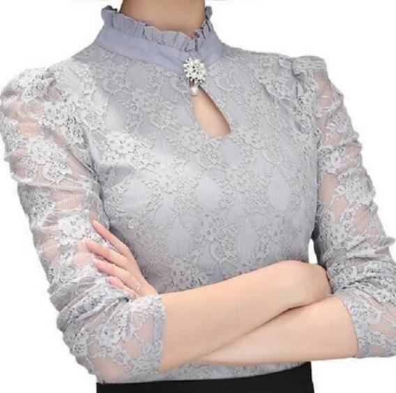 Blusa Camisa Feminino Social Renda Tule De Luxo Foto Real