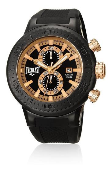 Relógio Pulso Everlast Masculino Cronografo Aço Preto E585