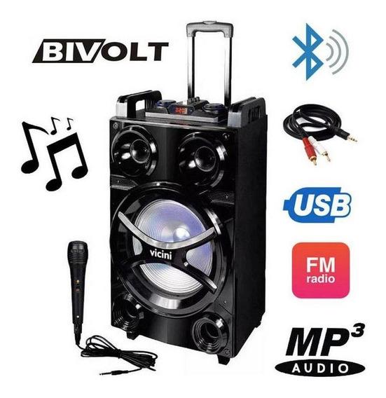 Caixa Acústica Vicini Vc-7600 Bluetooth 600wrms Com Fm Entra