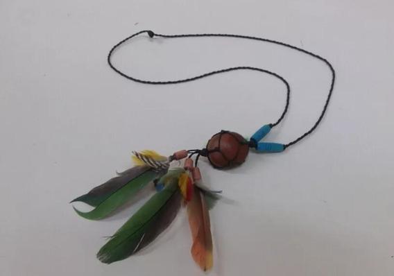 Colar Longo Semente Pena Indígena + Brinco