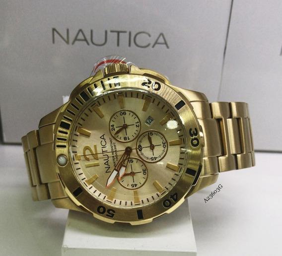 Relógio Nautica Cronografo A23603g Banhado Cronografo