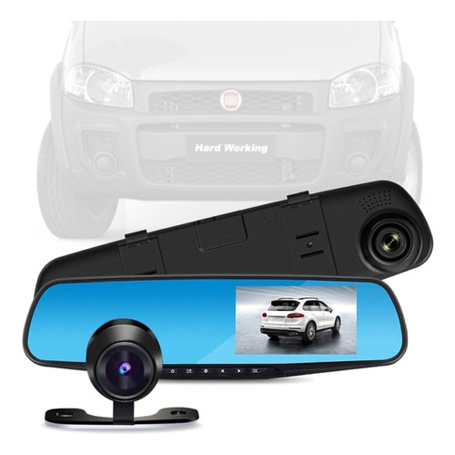 Imagem 1 de 6 de Retrovisor Camera Grav Frontal + Cam Traseira Fiat Strada
