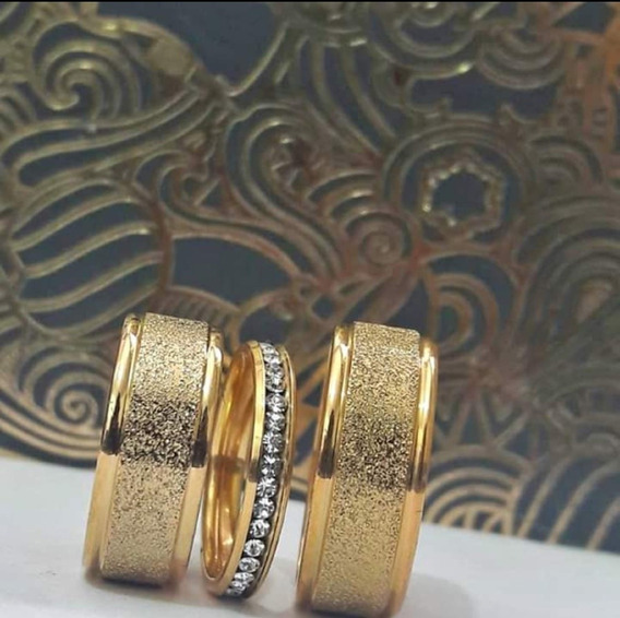 Par De Alianças Casamento Com Anel Aparador De Strass
