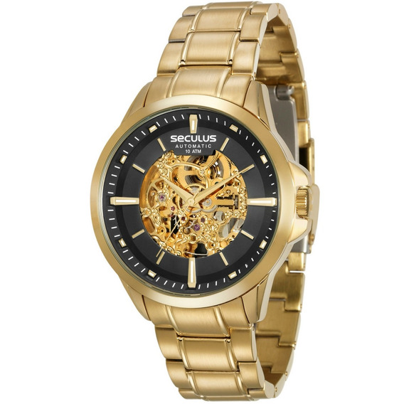 Relógio Masculino Seculus Dourado Automático 20552gpsvda1
