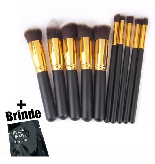 Kit 10 Pincel Maquiagem Kabuki Estojo Profissional Brush