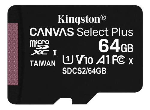 Imagen 1 de 3 de Tarjeta De Memoria Kingston 64gb Micro Sd Canvas C/adaptador