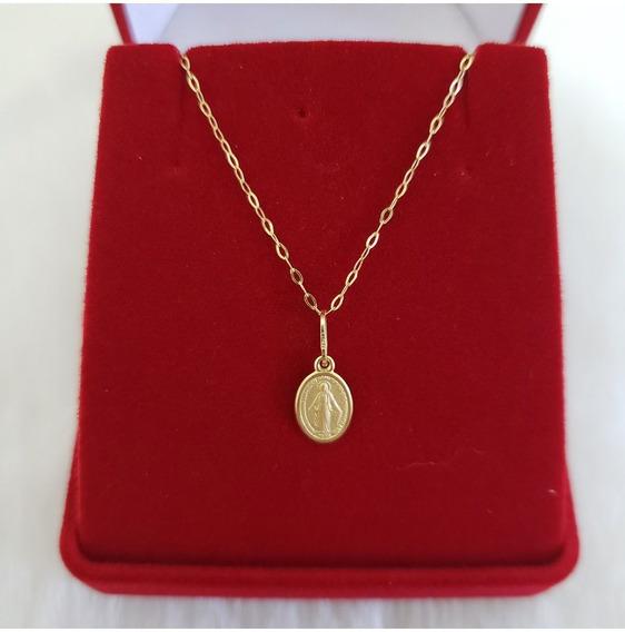 Cordao Colar + Medalha N. S. Das Graças Ouro 18k