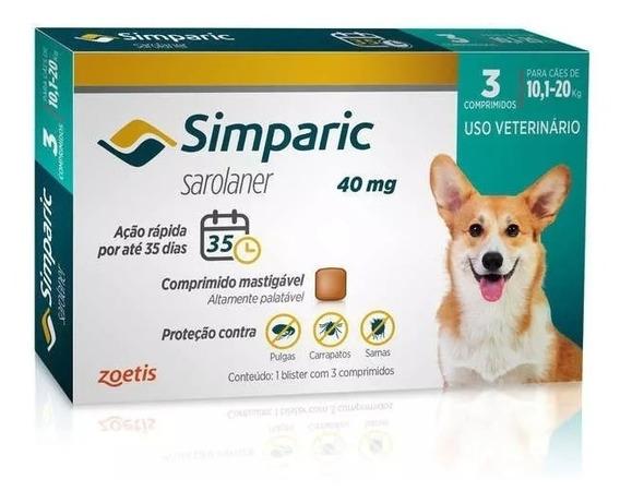 Combo Antipulga Simparic 40 Mg 10 A 20 Kg 3 Comprimidos