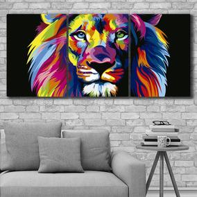 Cuadros Modernos Tripticos Leon Colores Animales 132x62cms