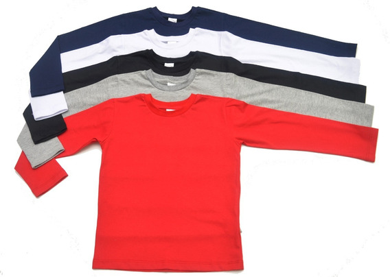 Kit Com 3 Camiseta Manga Longa Infantil