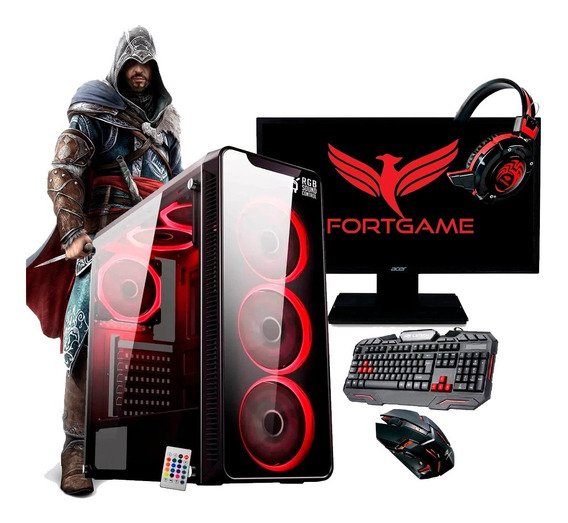 Pc Completo Gamer Monitor 19,5¨ Wifi 4gb + 35 Jogos