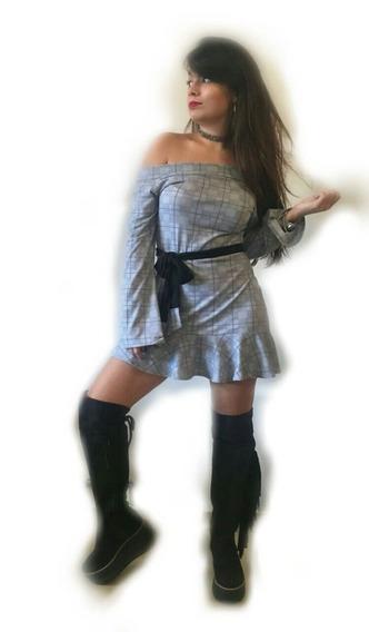 Vestido Manga Larga Con Cinto