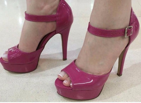 Sandalia Meia Pata Rosa Escuro Pink Salto Alto Fino Verniz