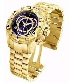 Relógio Masculino E Dourado Barato Pesado Aço