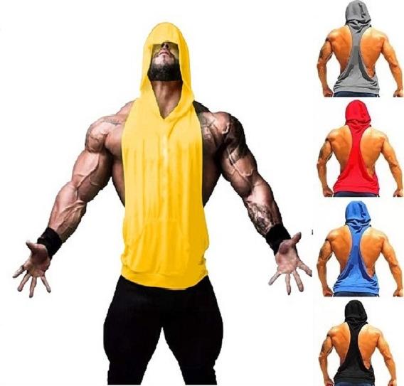 Camiseta Blusa Masculina Camisa Machão Com Capuz Musculação