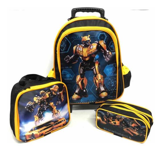 Kit Mochila Escolar Rodinha Transformers+lancheira+estojo