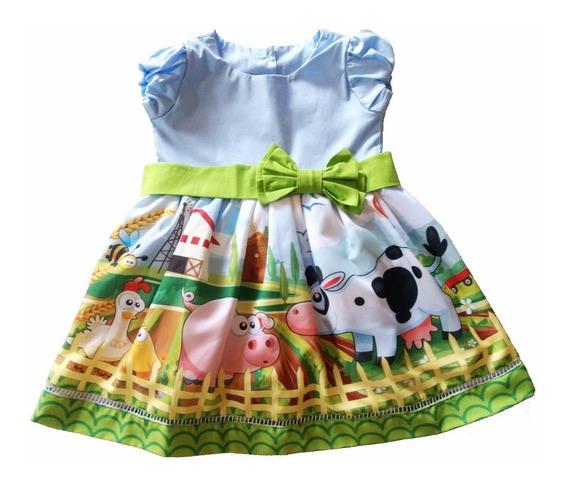 Vestido Roupa Festa Infantil Temático Personagem Fazendinha