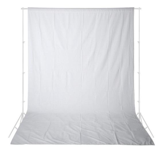 1 Tecido 3x4 Branco + Suporte Fundo Infinito Estúdio Fotográfico Chroma Key Igreja Ring Ligth Iluminador Youtuber Escol