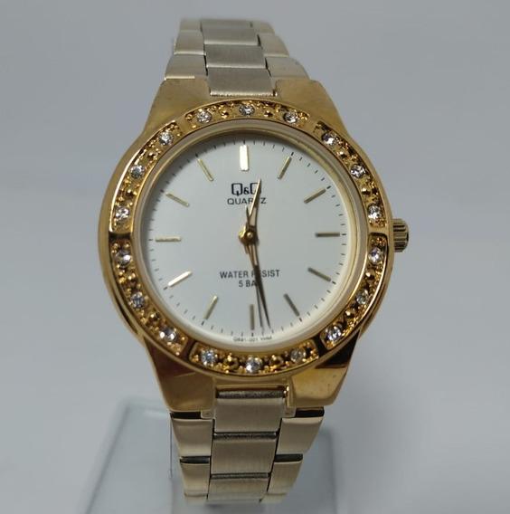 Relógio Q&q By Citizen Dourado Fundo Branco Q691j001y