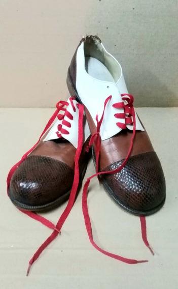 Antiguo Par De Zapatos De Payaso (zapatones)
