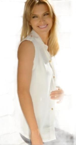 Marcela Koury Camisa De Seda Con Detalle De Ecocuero