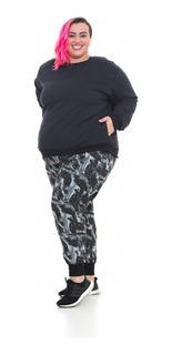Blusa Moletom Plus Size Preto Wonder Size