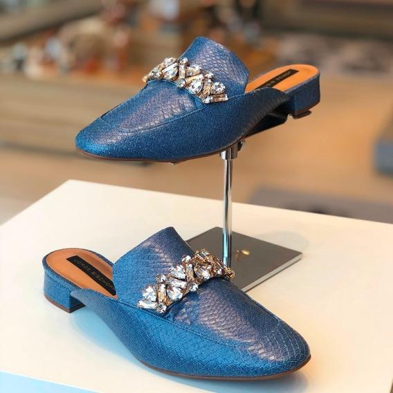 Mule Jorge Bischoff Azul Náutico Jeans Pedrarias Couro - Loja Berti Maria