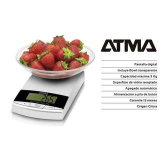Balanza De Cocina Atma 3 Kg. Apagado Autom C/ Bowl Bcc7103e