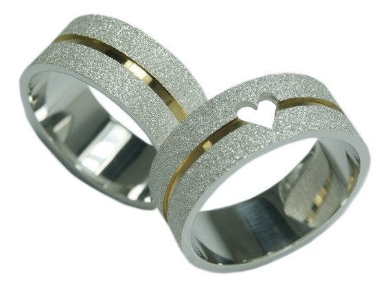 Aliança De Prata 950 Diamantada Com Coração Vazado Com 6mm