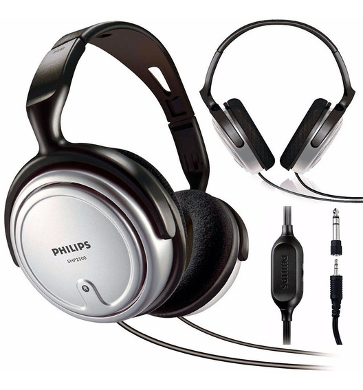 Headphone Estéreo Philips Shp2500/10 - Prata - Cabo 6 Metros