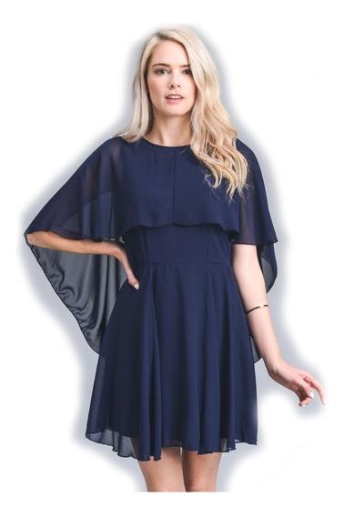 Vestido De Dama Azul Corto Fiesta Doble Capa