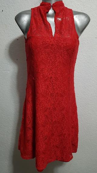 Hermoso Vestido De Encaje Color Rojo Talla G