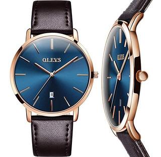 Reloj Hombre Manilla Cuero Ultra Delgado Minimalista Elegant